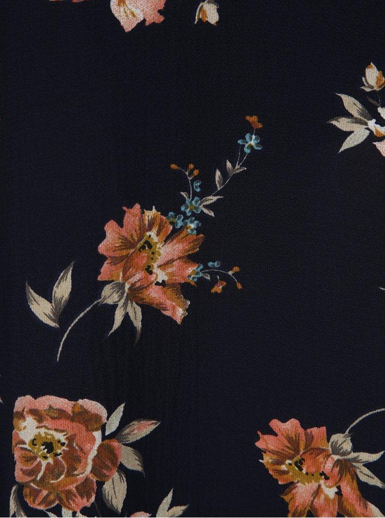 Tmavě modré volné květované šaty odhalenými rameny AX Paris