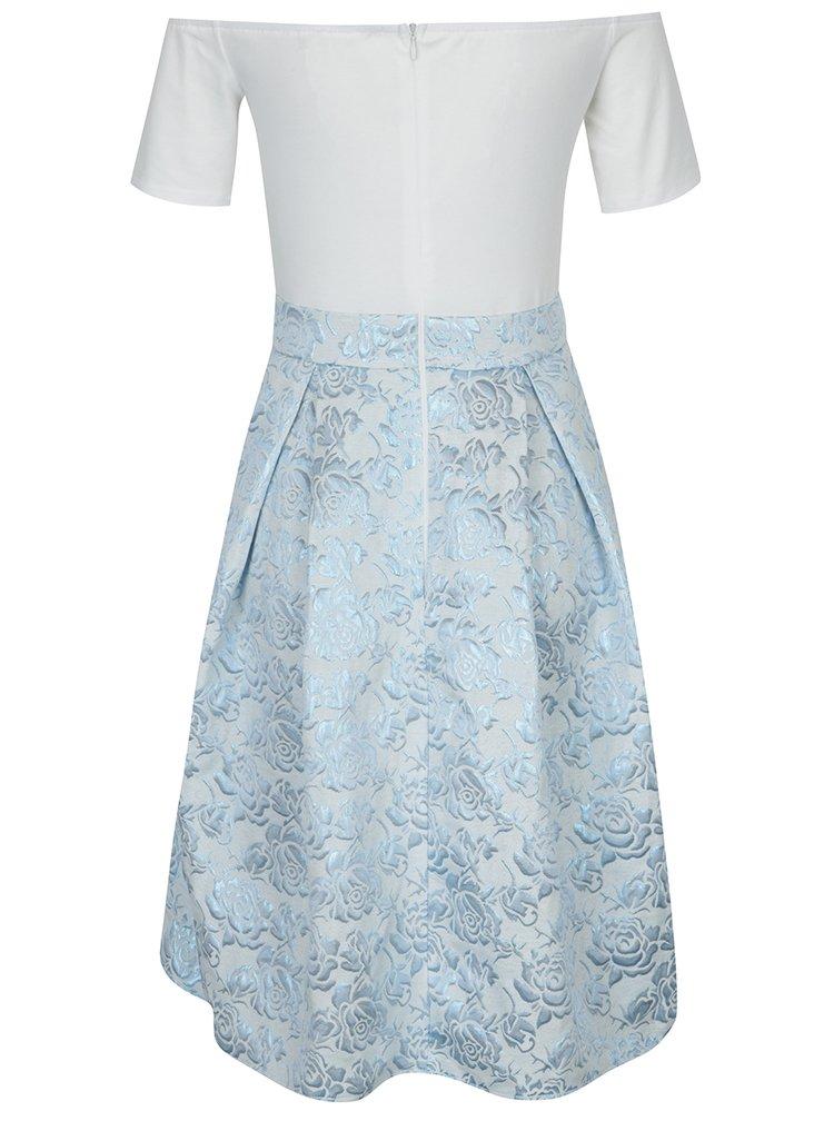 Krémové šaty s odhalenými rameny a květovanou sukní AX Paris