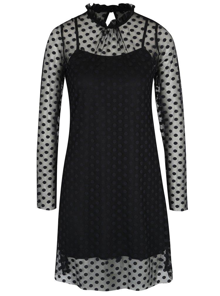 Černé puntíkované síťované šaty s dlouhým rukávem AX Paris