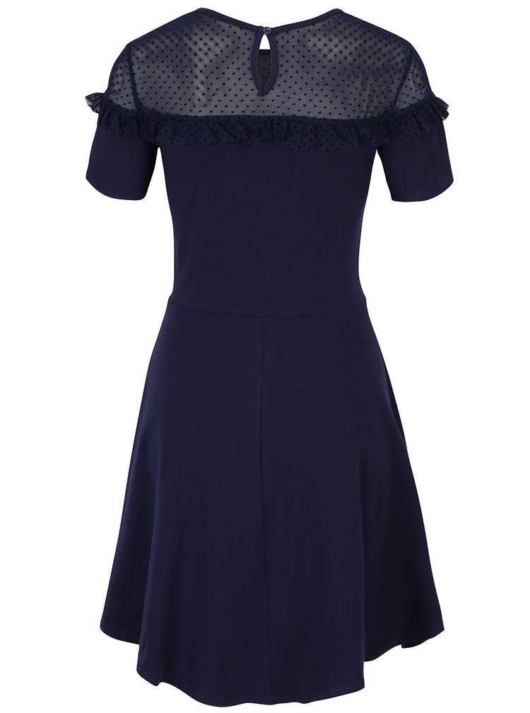 Tmavě modré šaty s průsvitným sedlem Dorothy Perkins