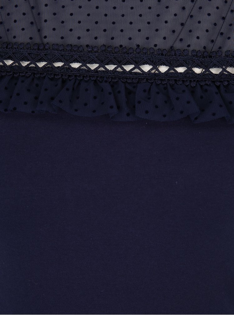 Rochie midi bleumarin cu aplicație din dantelă Dorothy Perkins