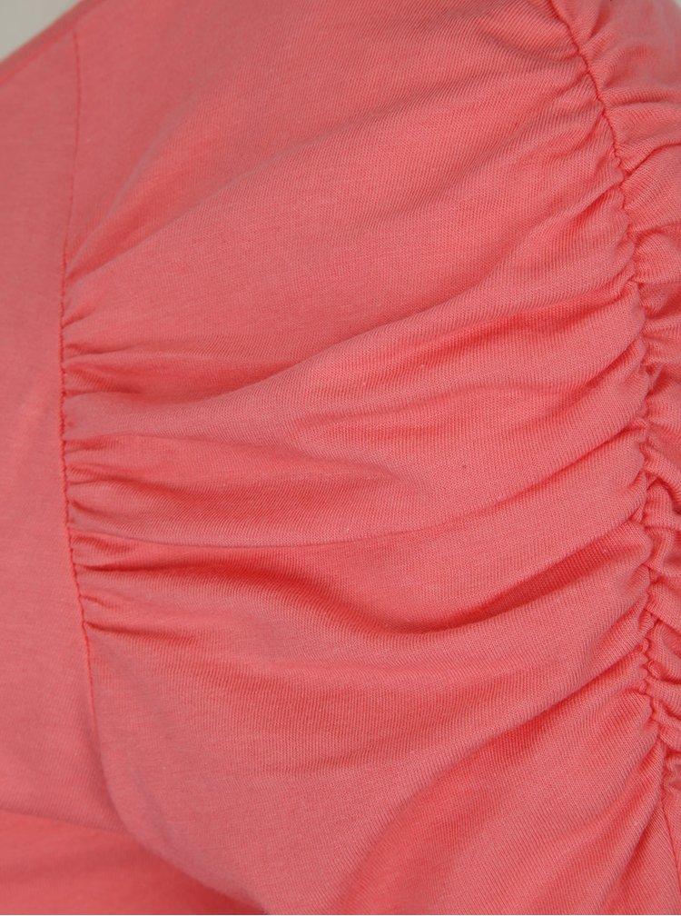 Růžové tričko s nařaseným rukávem Dorothy Perkins