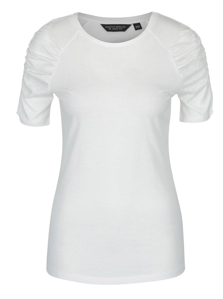 Tricou alb fildes cu maneci cu falduri Dorothy Perkins