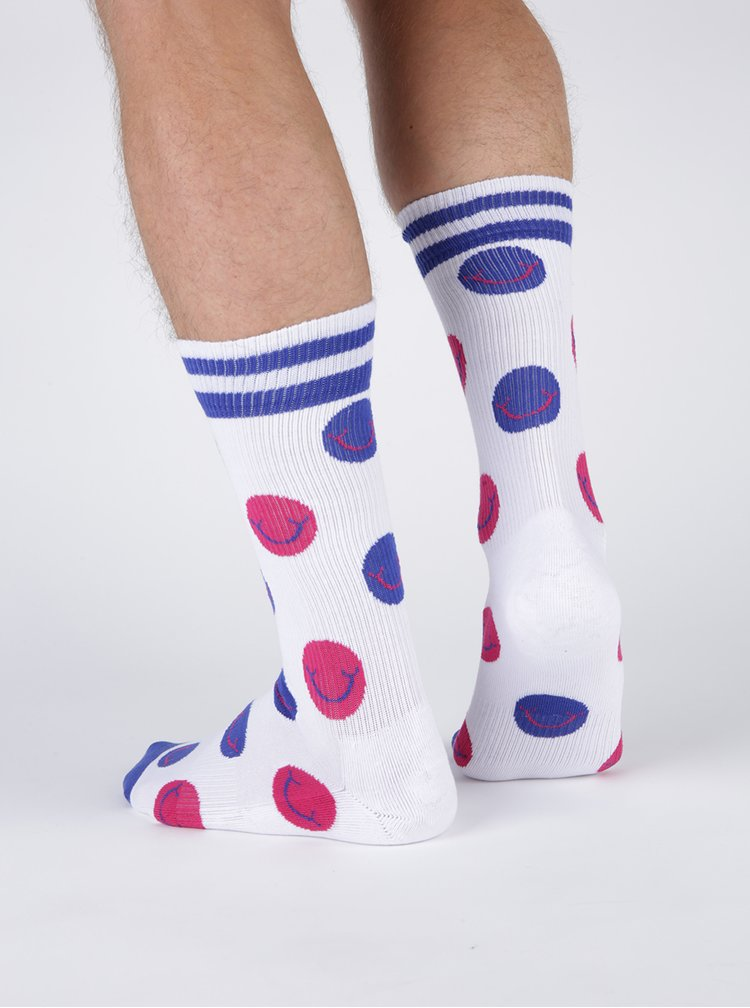 Sosete albe cu model in dungi pentru  unisex Happy Socks Athletic Smile
