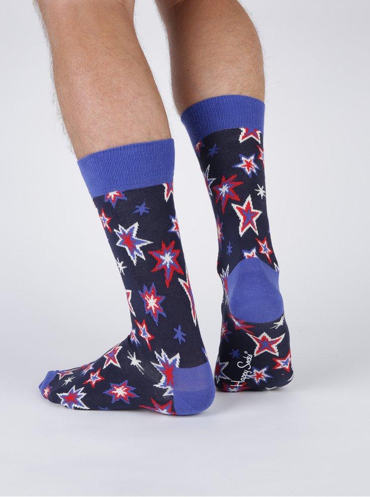 Tmavě modré pánské ponožky s hvězdami Happy Socks Bang Bang