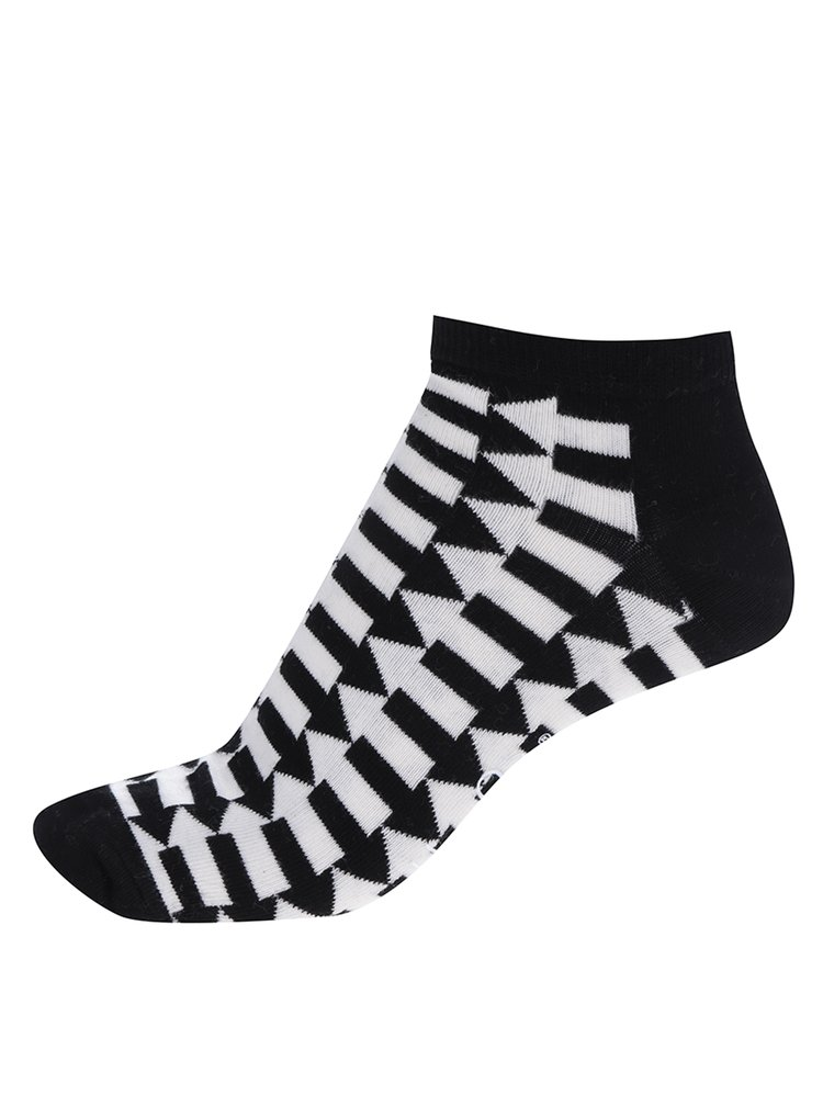 Șosete scurte negru&alb pentru bărbați Happy Socks Direction