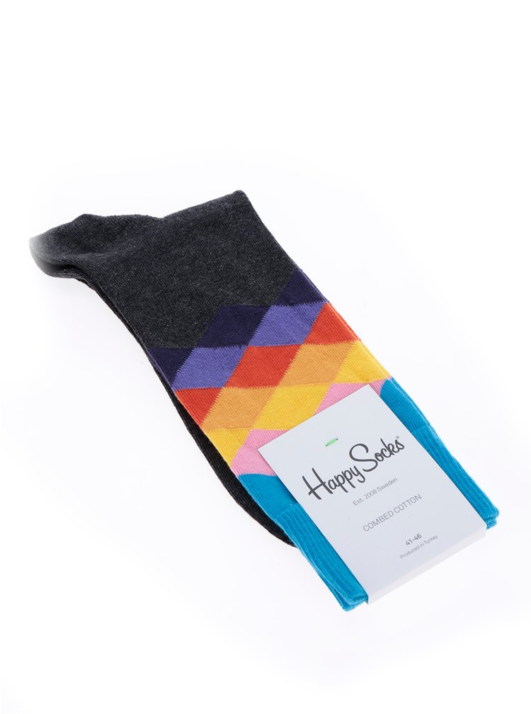 Sosete multicolore cu romburi Happy Socks Faded Diamond