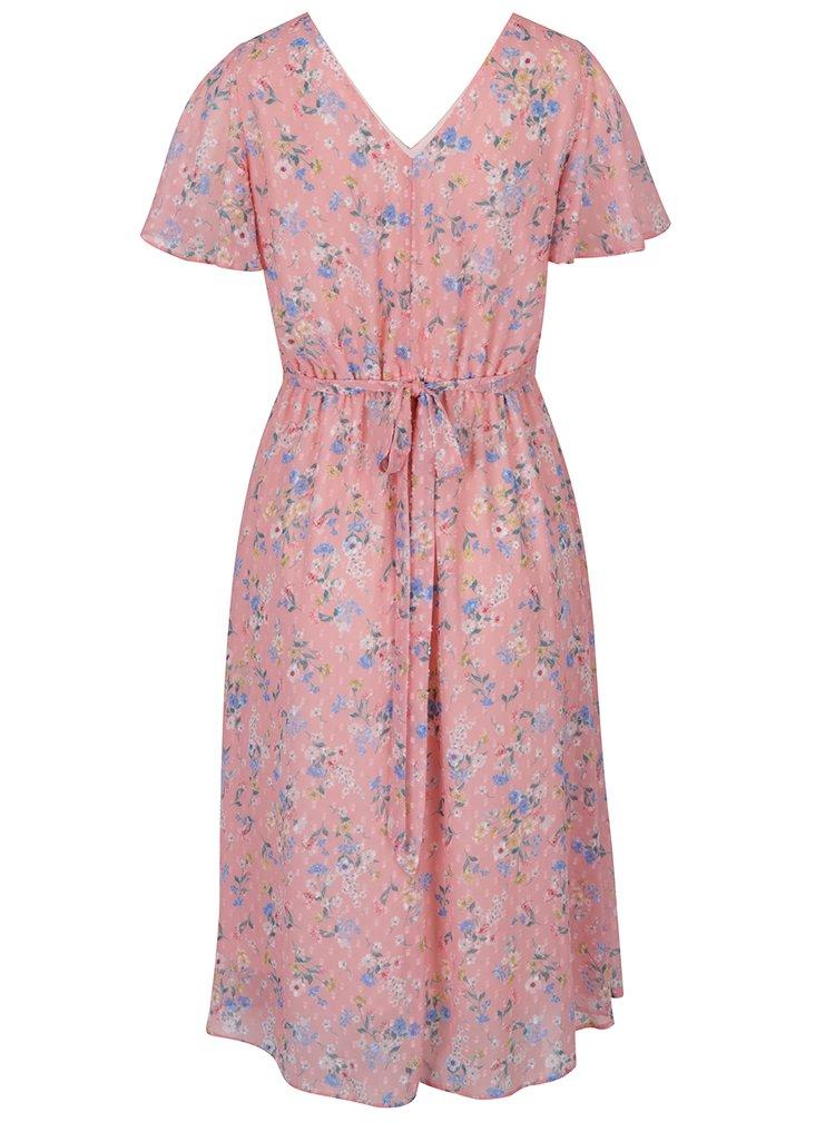 Růžové květované šaty s krátkým rukávem Dorothy Perkins