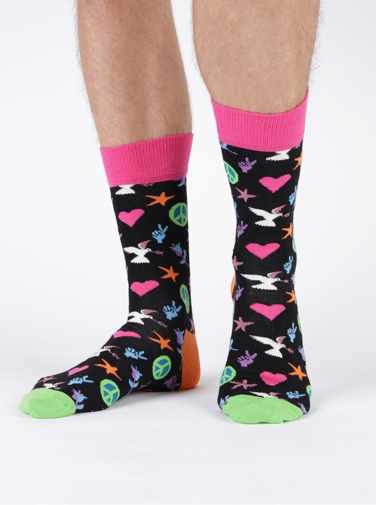 Sosete multicolore inalte pentru barbati Happy Socks Peace And Love