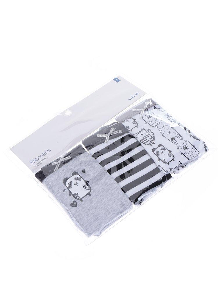 Sada tří holčičích vzorovaných kalhotek v šedé a bílé barvě 5.10.15.