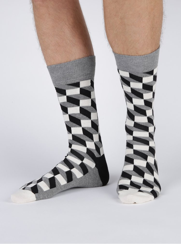 Sada čtyř párů černo-bílých pánských vzorovaných ponožek Happy Socks Black&White