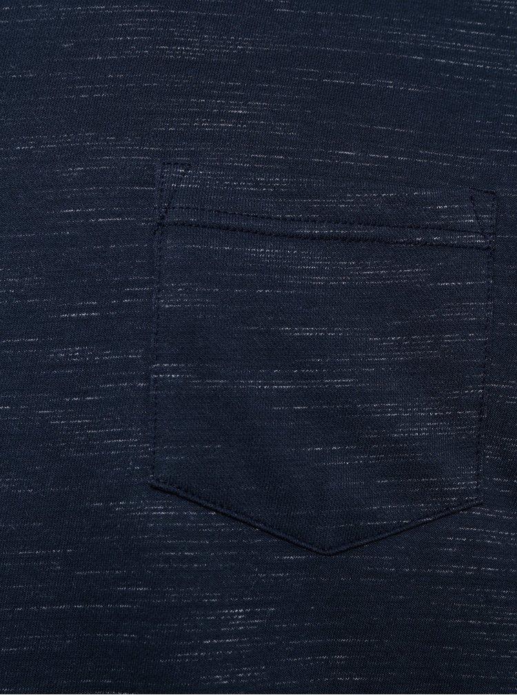 Tmavě modré žíhané tričko s dlouhým rukávem Burton Menswear London