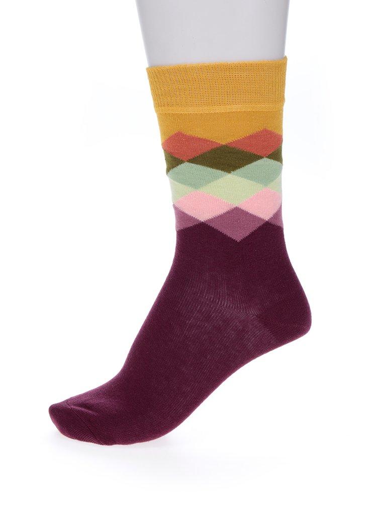 Žluto-vínové dámské vzorované ponožky Happy Socks Faded Diamond