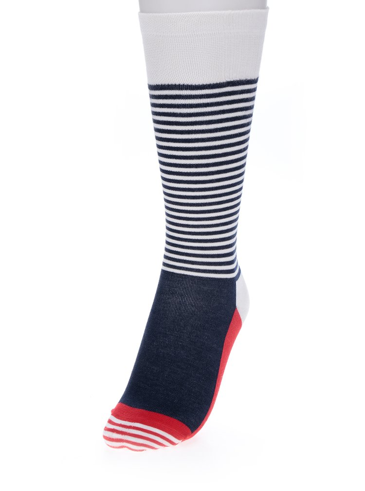 Bílo-modré unisex pruhované kompresní podkolenky Happy Socks Compression Half Stripe