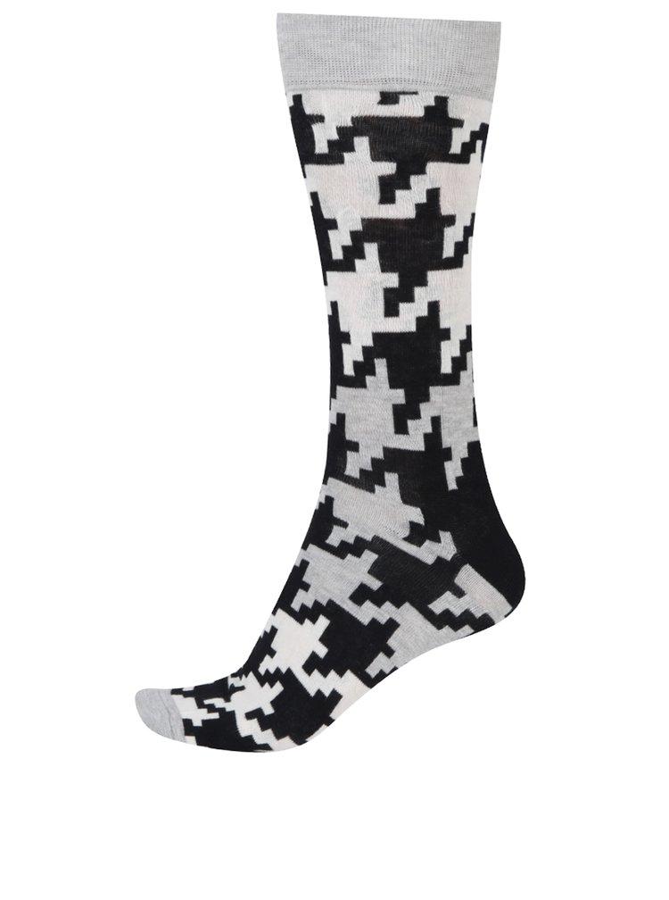 Krémovo-černé pánské vzorované ponožky Happy Socks Dogtooth