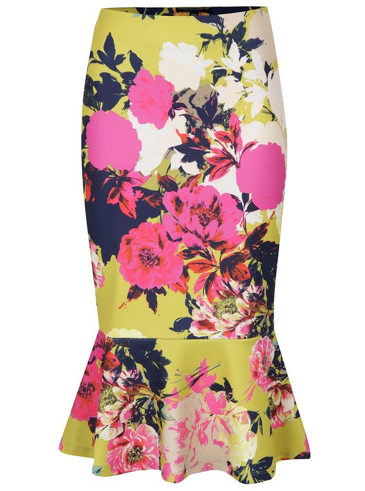 Žlutá květovaná pouzdrová sukně s volánem Dorothy Perkins