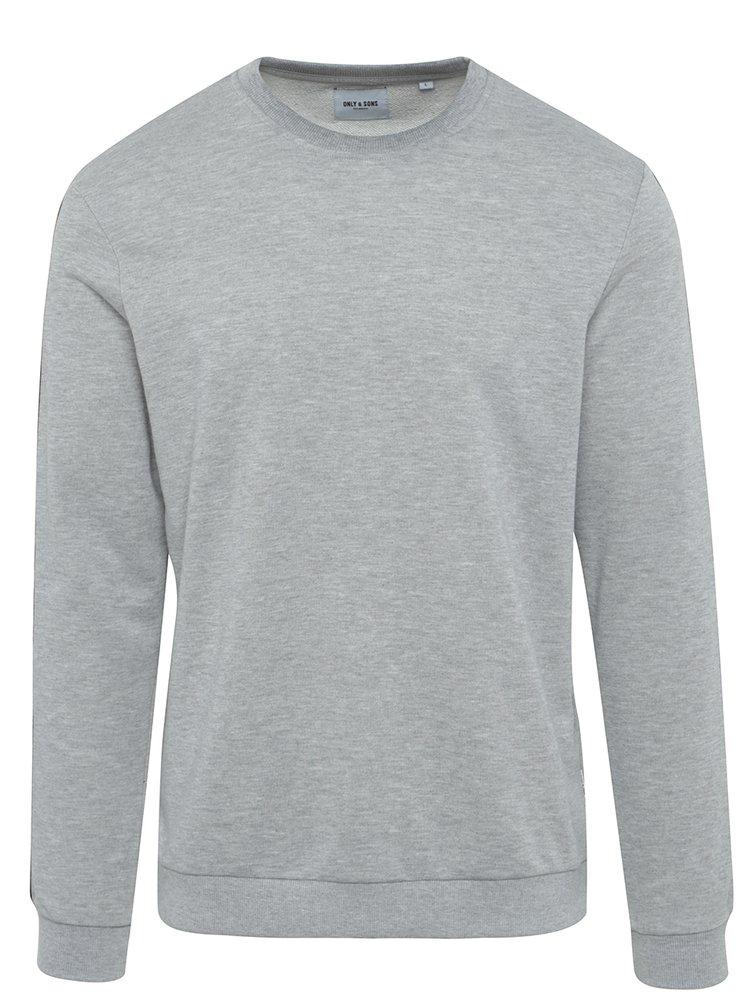 Bluză gri melanj cu detalii pe mâneci - ONLY & SONS Colter