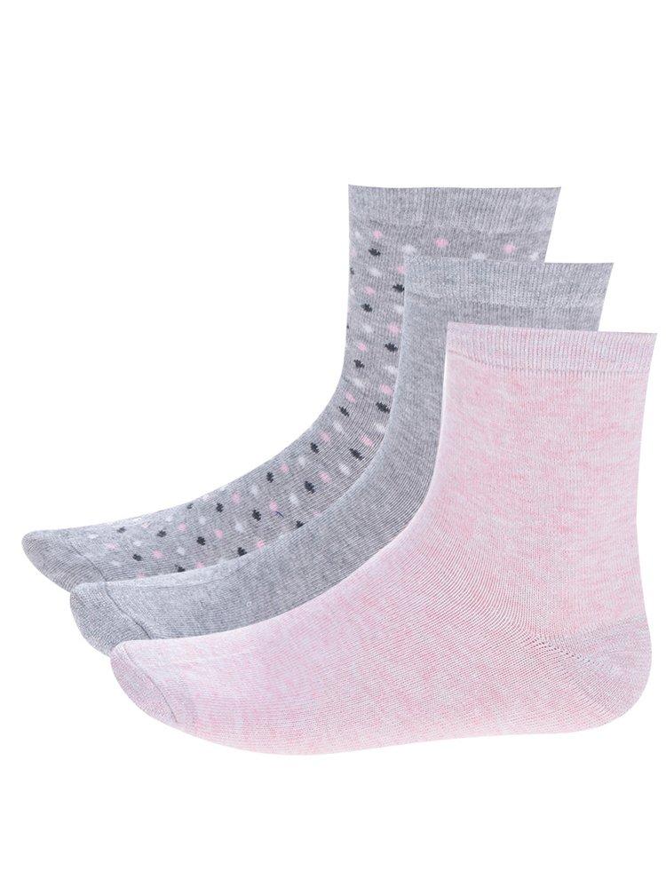 Sada tří párů šedých holčičích vzorovaných ponožek 5.10.15.