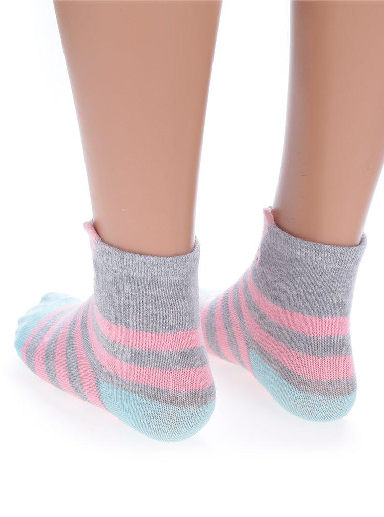 Sada tří párů holčičích vzorovaných ponožek v růžové a tyrkysové barvě 5.10.15.