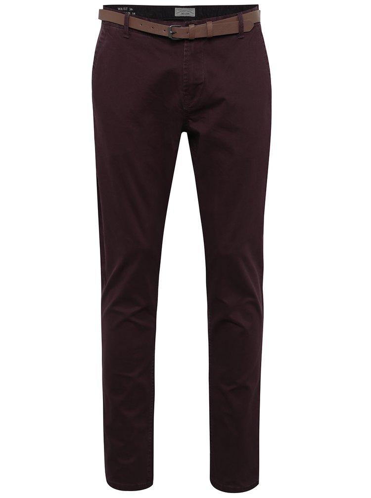 Vínové chino kalhoty s páskem ONLY & SONS Tarp