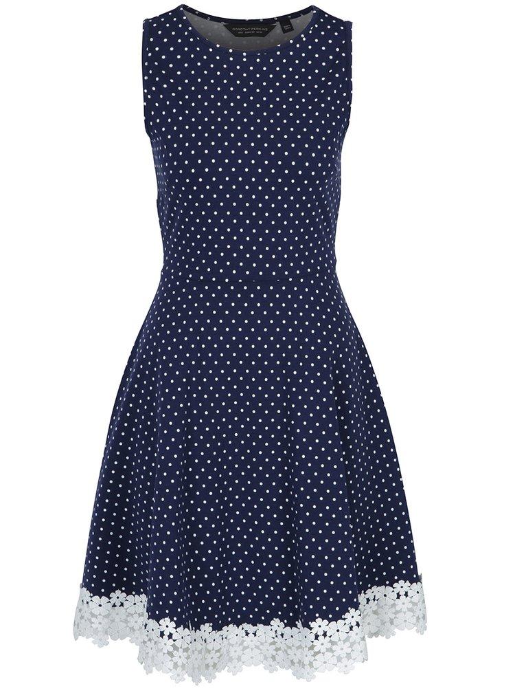 Tmavě modré puntíkované šaty s krajkou Dorothy Perkins