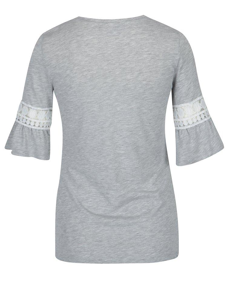 Šedé tričko s krajkou na rukávu Dorothy Perkins