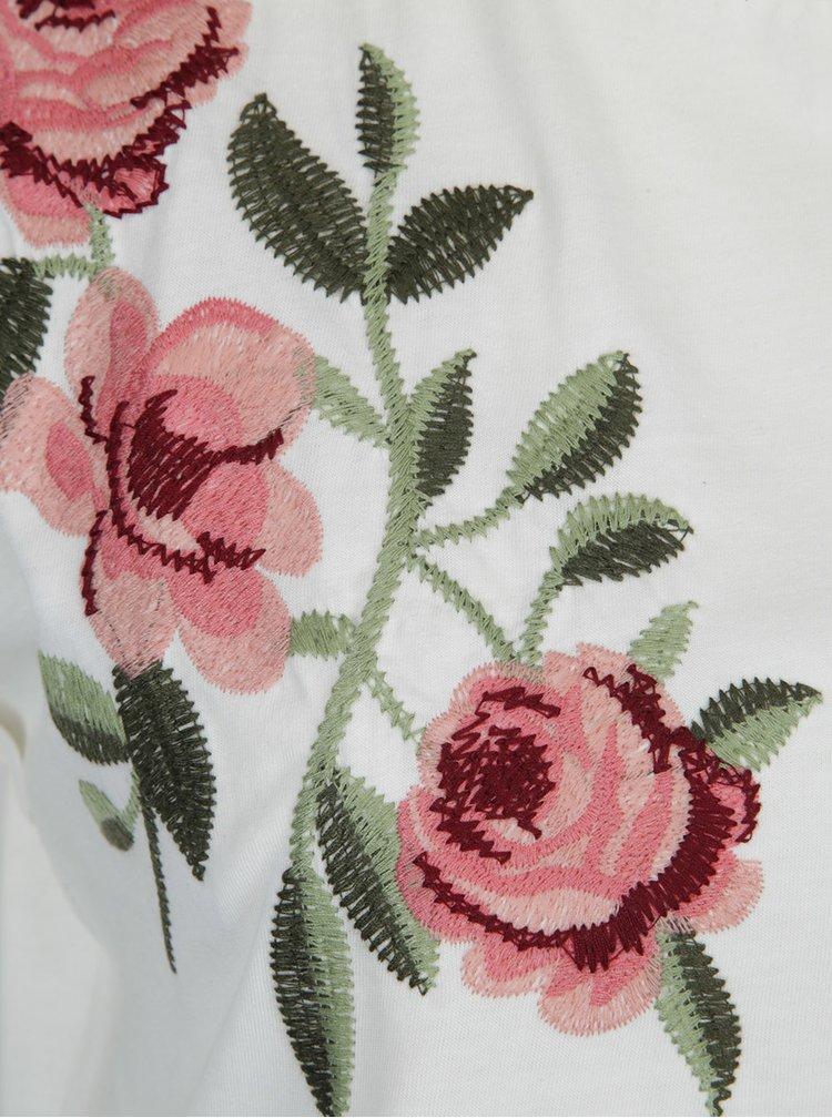 Krémové tričko s výšivkou Dorothy Perkins