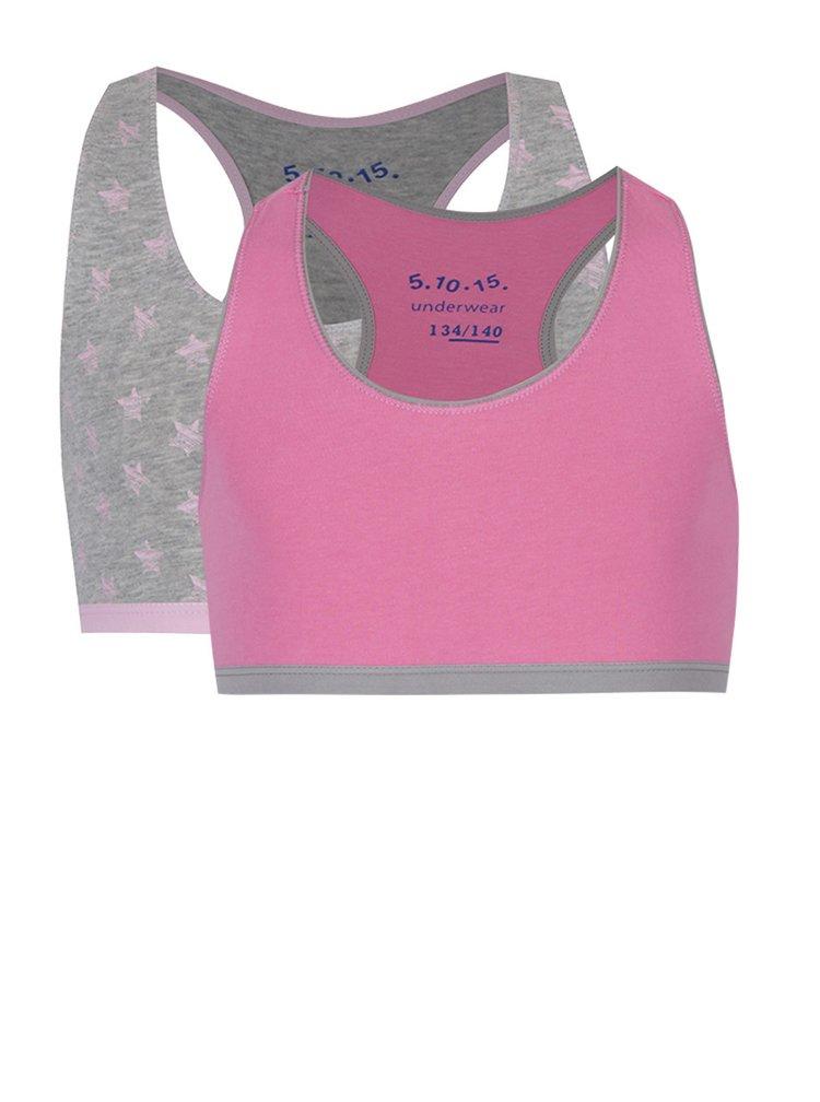 Sada dvou holčičích podprsenek v růžové a šedé barvě 5.10.15.
