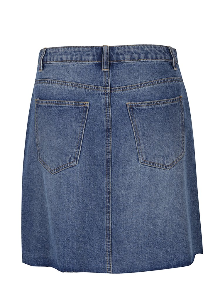 Modrá rifľová sukňa s vreckami VERO MODA Carolyn