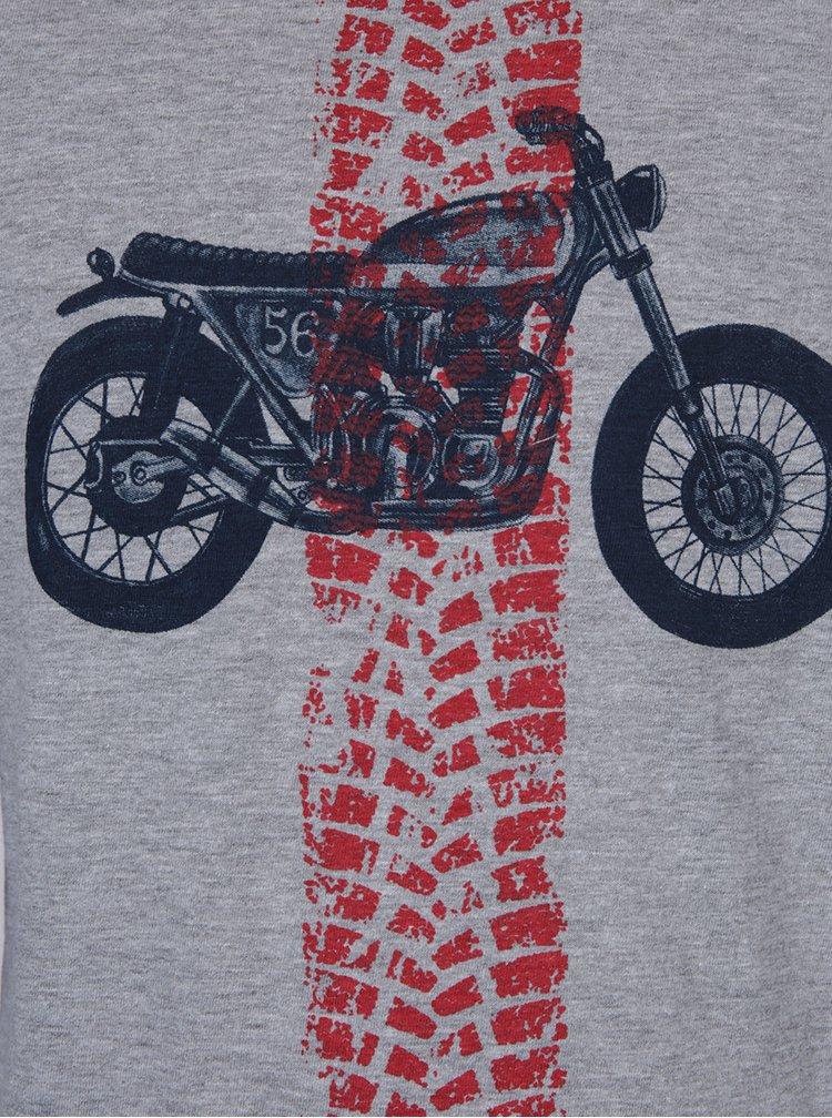 Červeno-sivé chlapčenské tričko s dlhým rukávom a potlačou 5.10.15.