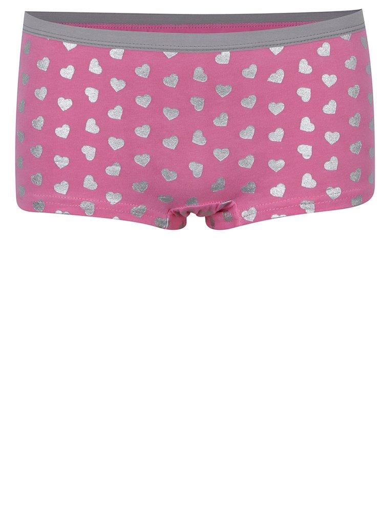 Sada tří vzorovaných holčičích kalhotek v šedé a růžové barvě 5.10.15.