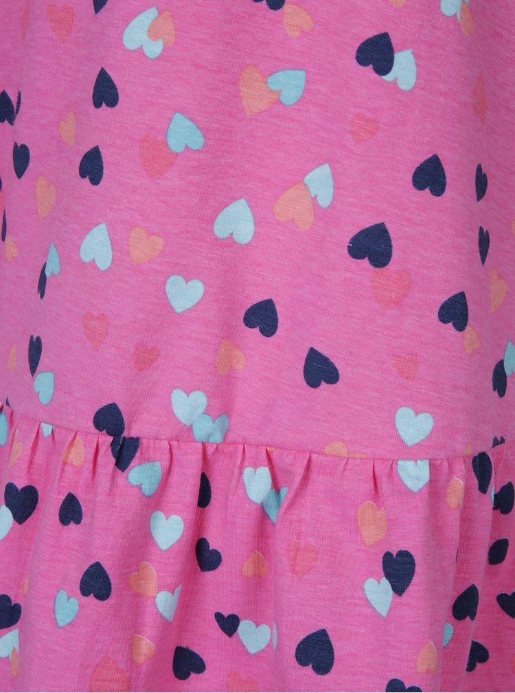 Růžové holčičí šaty s volánem a potiskem srdíček 5.10.15.