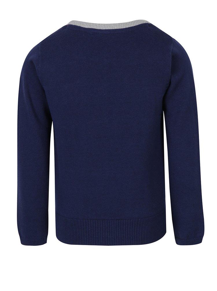 Tmavě modrý holčičí svetr s knoflíky a mašlí 5.10.15.