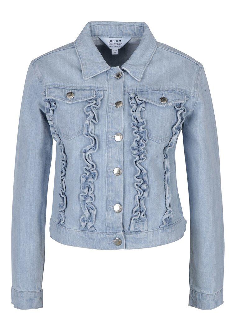 Jacheta albastra din denim cu volane - Miss Selfridge