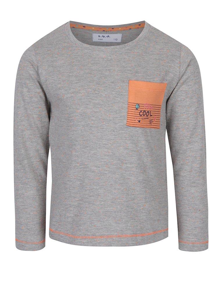 Oranžovo-šedé holčičí tričko s dlouhým rukávem 5.10.15.