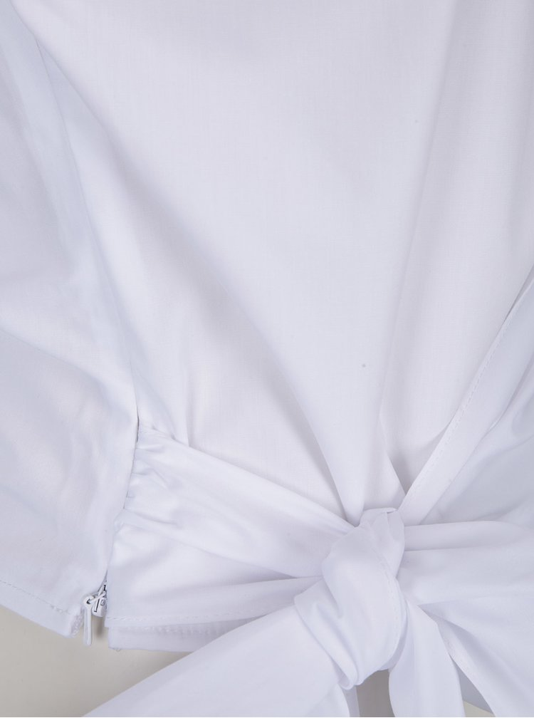 Bílá asymetrická halenka s mašlí Miss Selfridge
