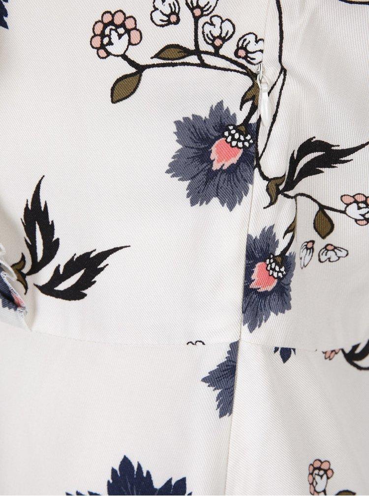 Krémové květované šaty s dlouhým rukávem VERO MODA Nadia