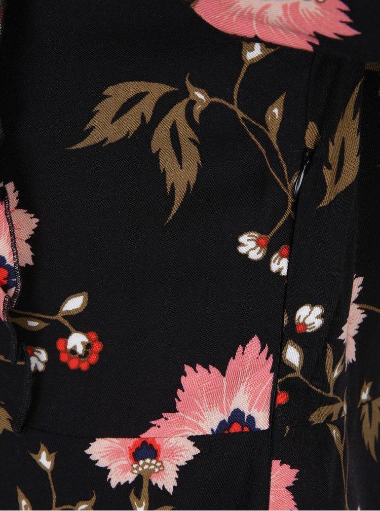 Černé květované šaty s dlouhým rukávem VERO MODA Nadia