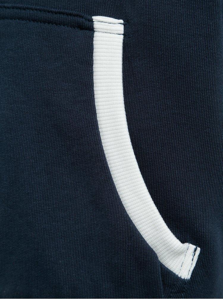 Tmavě modrá klučičí mikina na zip s kapucí