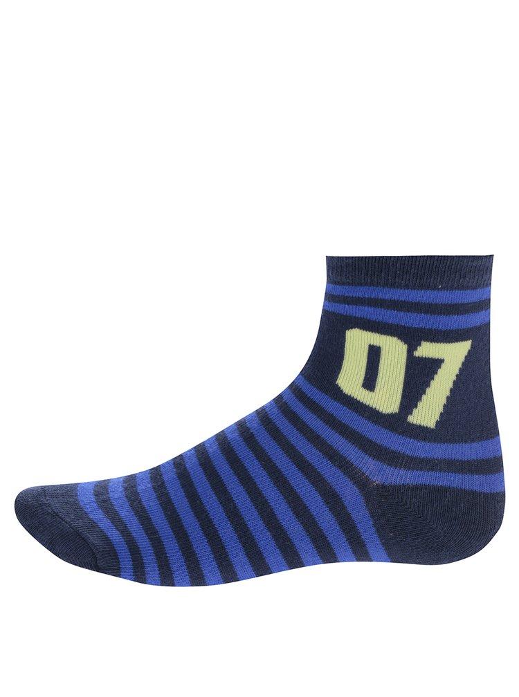 Sada tří párů žluto-modrých klučičích pruhovaných ponožek 5.10.15.