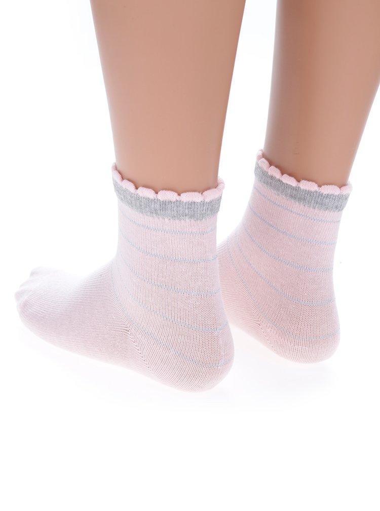 Sada tří párů šedo-růžových holčičích ponožek s motivem králíka 5.10.15.