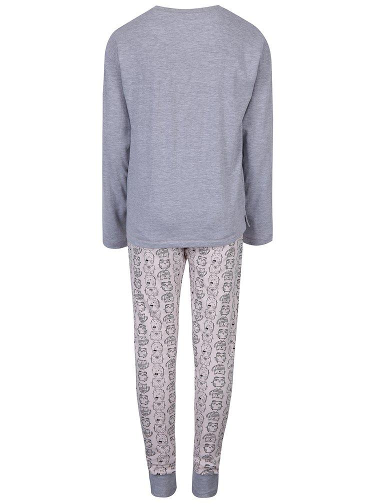 Ružovo-sivé dievčenské pyžamo s motívom pandy 5.10.15.