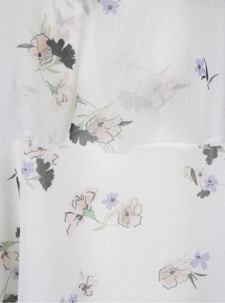 Krémová květovaná crop halenka na ramínka s mašlí Miss Selfridge