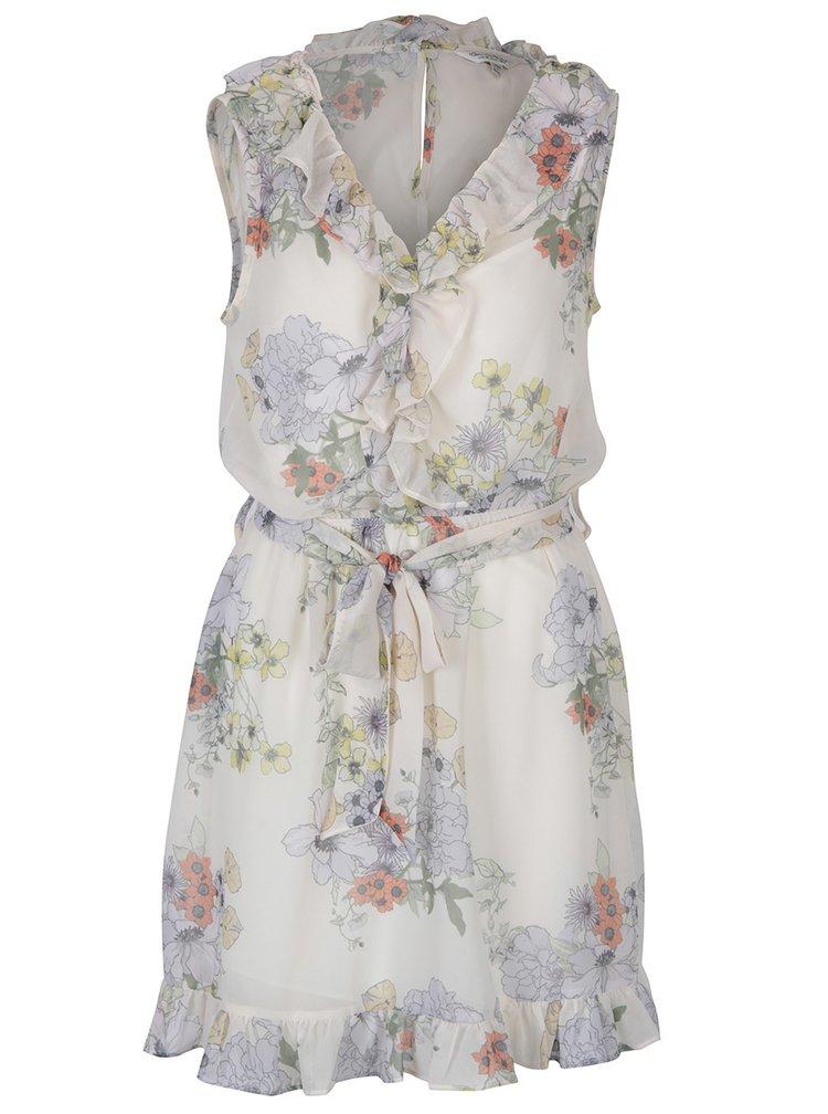 Krémové květované šaty s volány Miss Selfridge