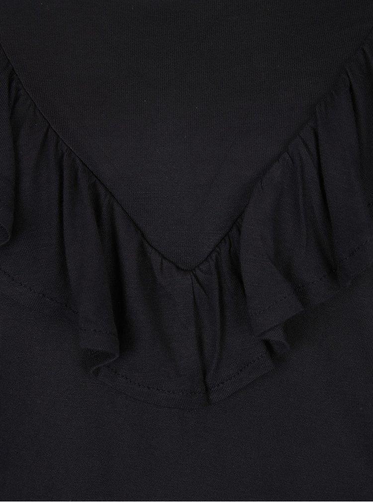Černé tričko s volánem VERO MODA Jemia