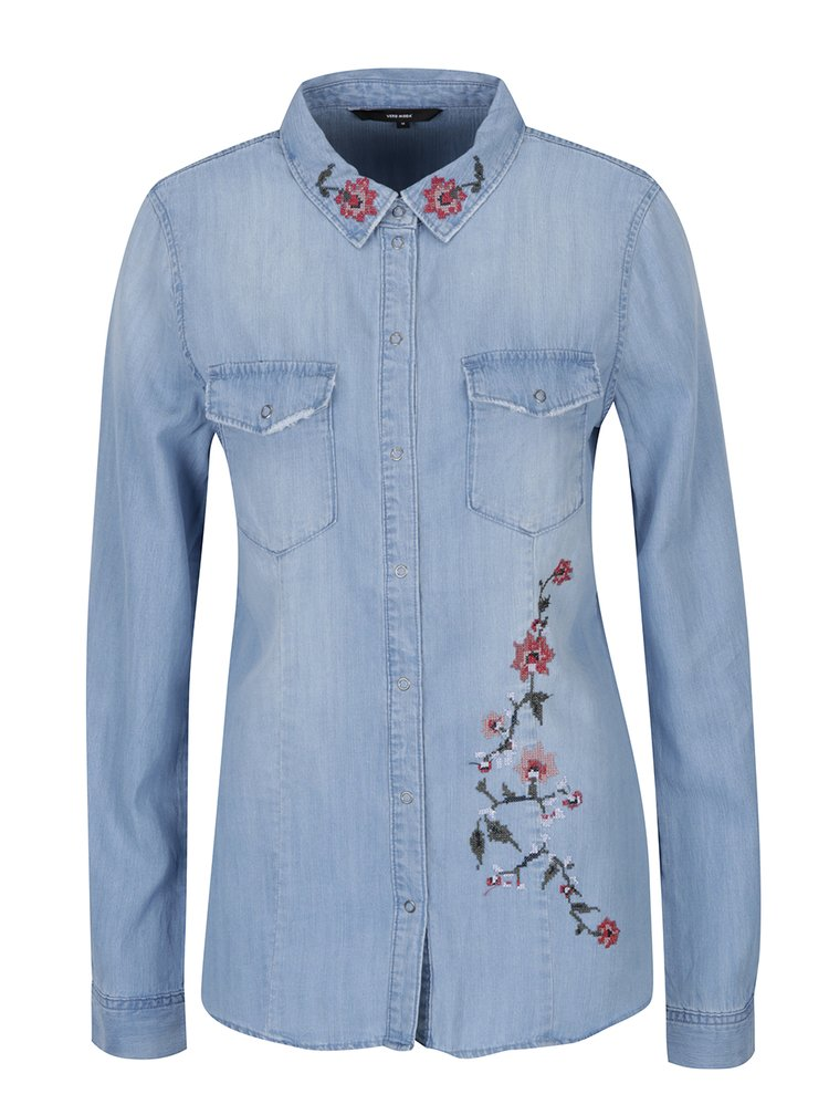 Camasa bleu din denim cu flori brodate - VERO MODA Viola