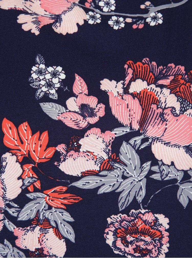 Tmavě modré květované tričko Dorothy Perkins