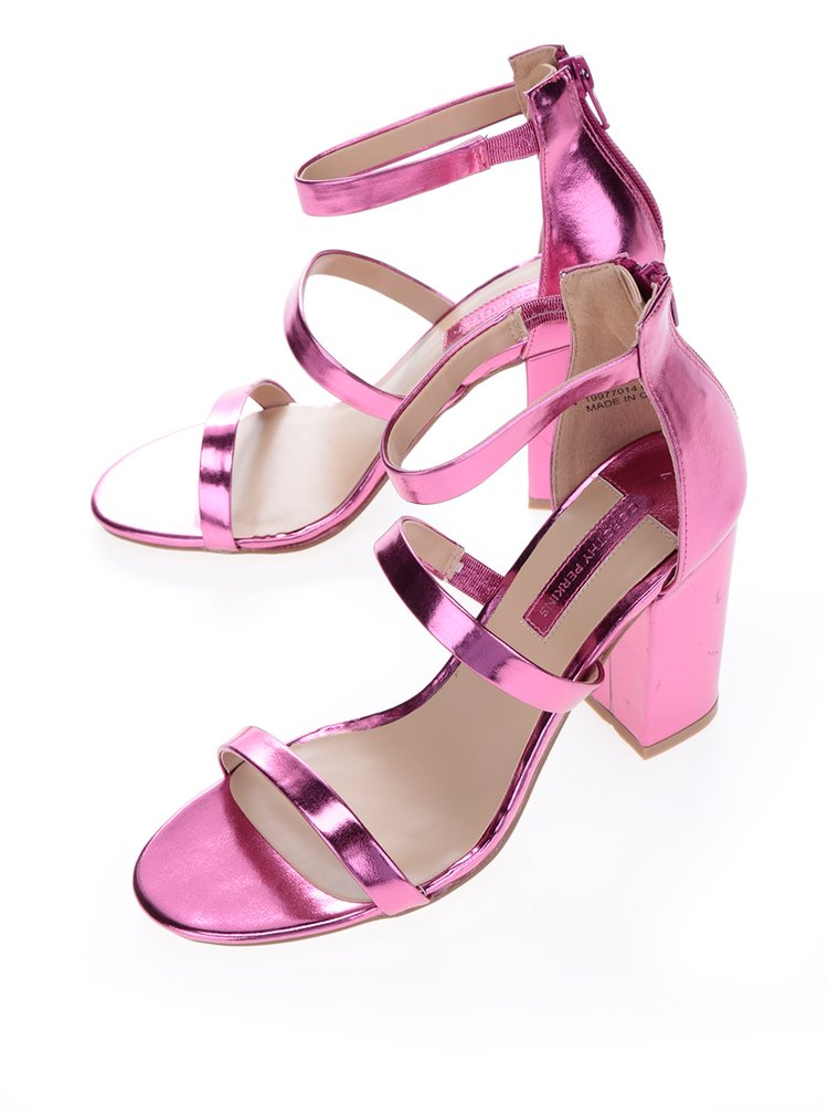 Sandale roz cu toc si aspect metalic Dorothy Perkins