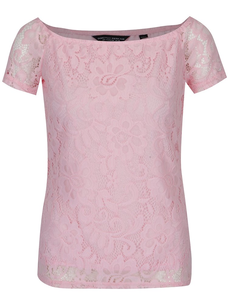 Světle růžové krajkové tričko Dorothy Perkins