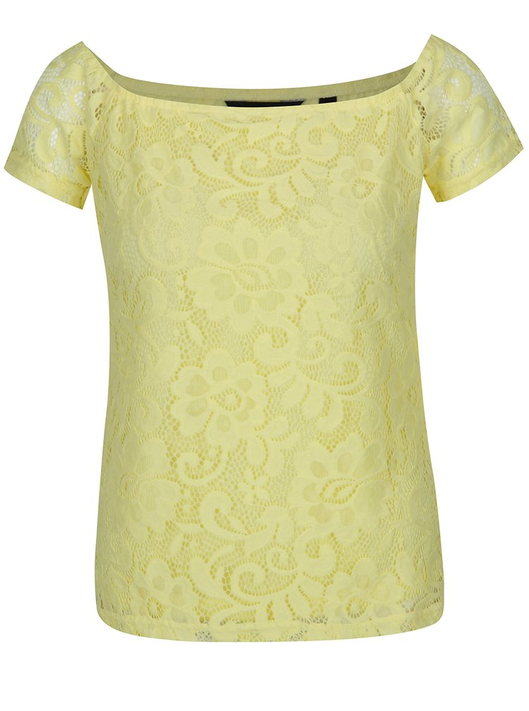 Tricou galben din dantelă Dorothy Perkins